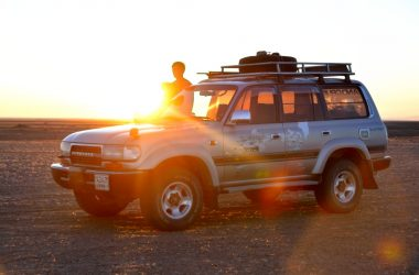 sunset mongolia car