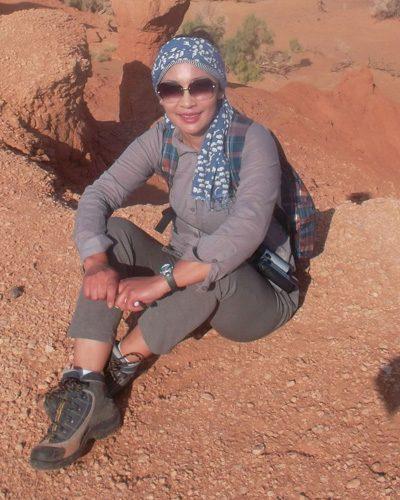 Mongolian gobi desert trip woman traveler