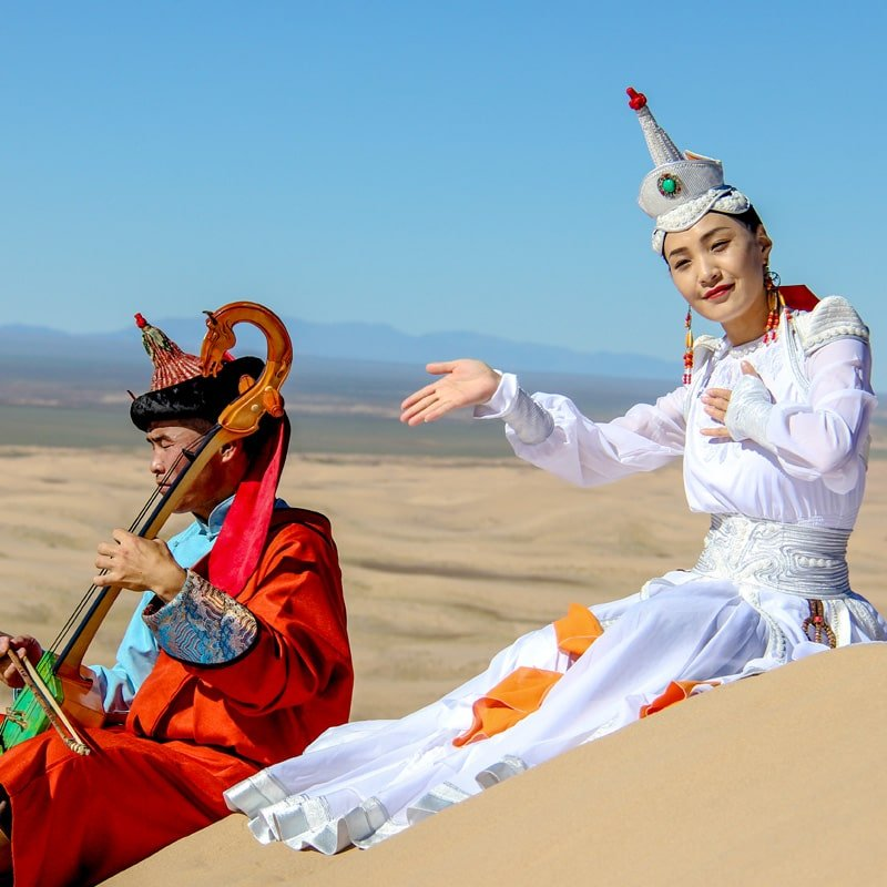 Mongolian traditional costume landscape